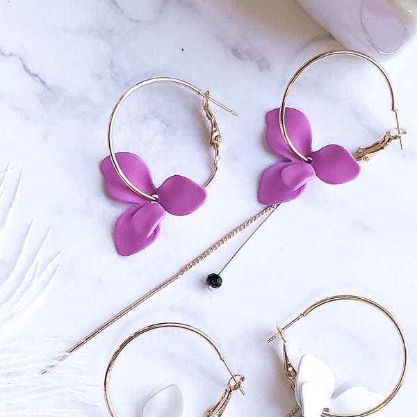 Plumeria Asymmetric Earrings - 4 Colors - LAST CHANCE - The Songbird Collection