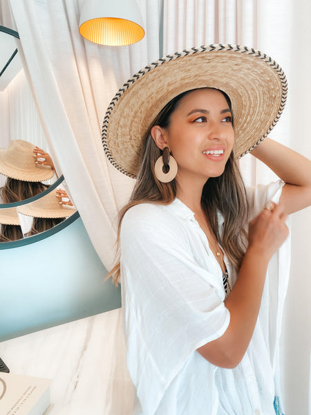 St. Tropez Statement Earrings - Brown & White! LOW STOCK! - The Songbird Collection