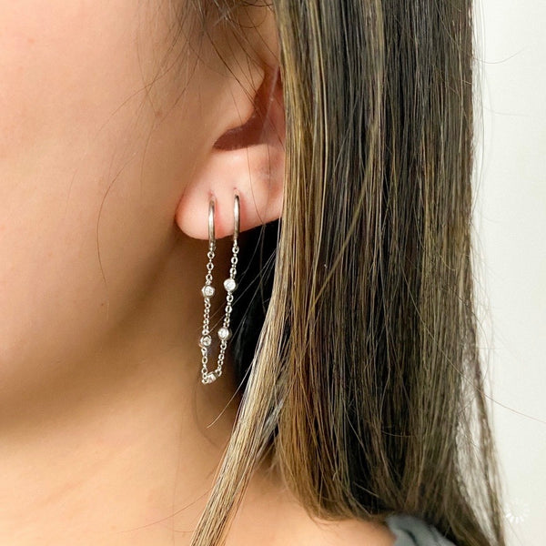 Bebe Bejeweled Chain Link Huggie Earrings - 925 Sterling Silver