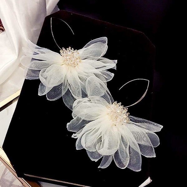 Gardenia Chiffon Flower Drop Earrings - 3 Colors! - The Songbird Collection
