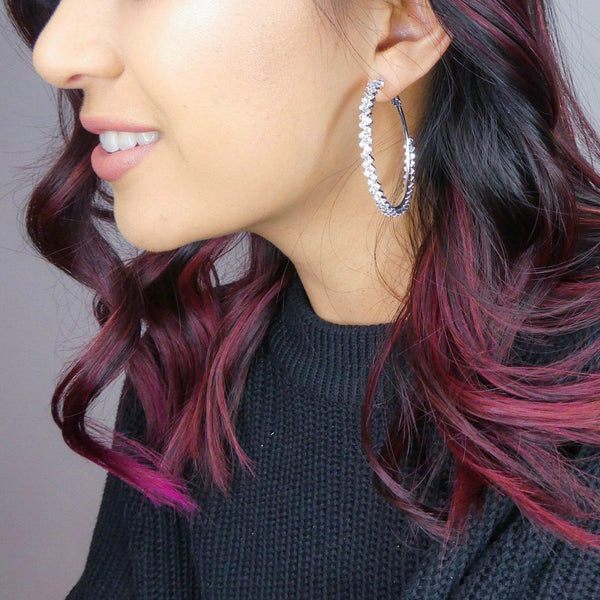 Zig Zag Bling Hoop Earrings - LAST CHANCE! - The Songbird Collection