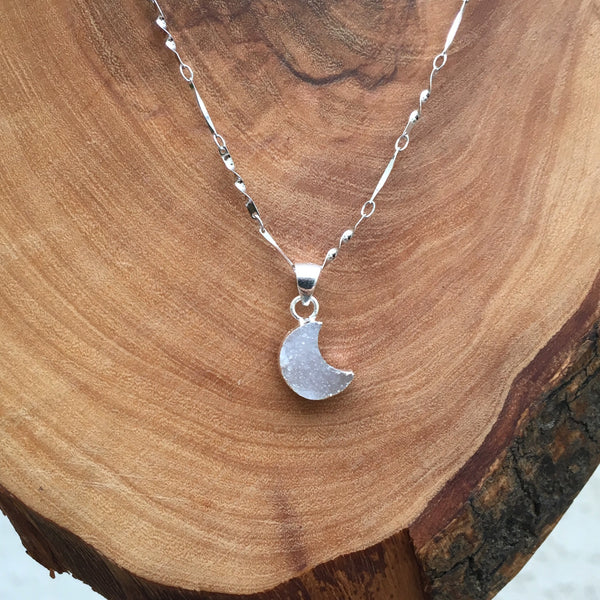Silver Moonlight Druzy Necklace - 925 Sterling Silver - The Songbird Collection