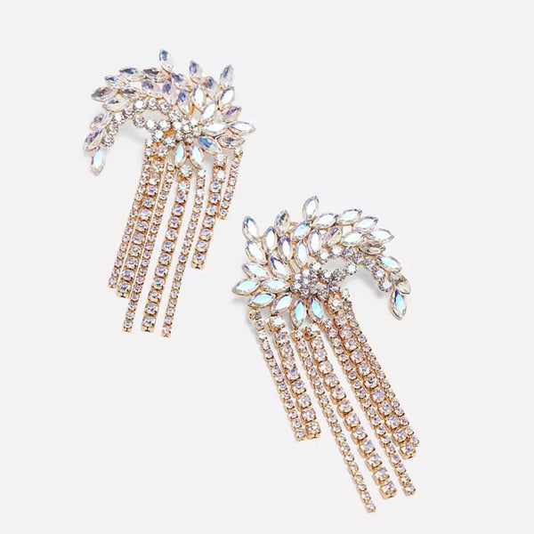 Fireworks Rhinestone Tassel Earrings - 2 Color Choices! - The Songbird Collection