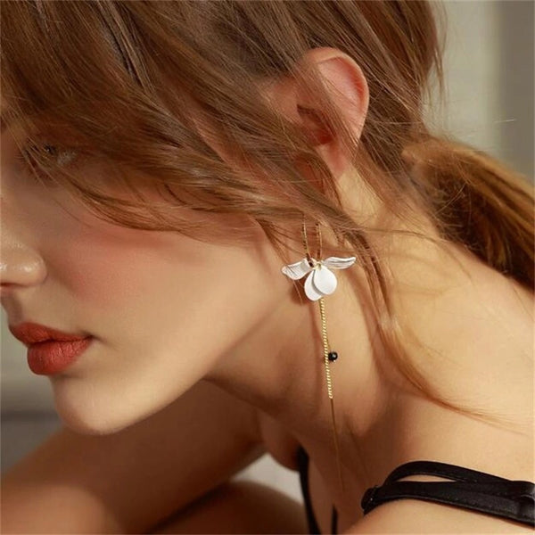 Le Blanc Flower Petal Earrings - The Songbird Collection