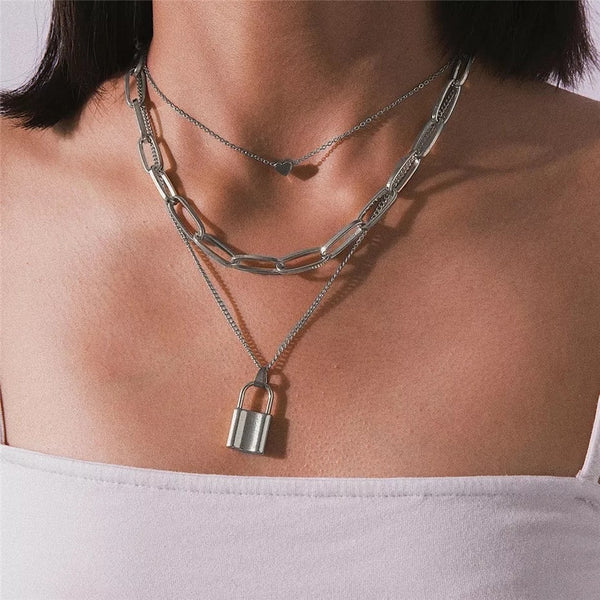 ❤️ Heart & Lock Layered Chain Necklace - LOW STOCK! - The Songbird Collection