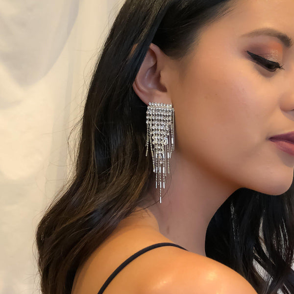 Paris Rhinestone Tassel Earrings