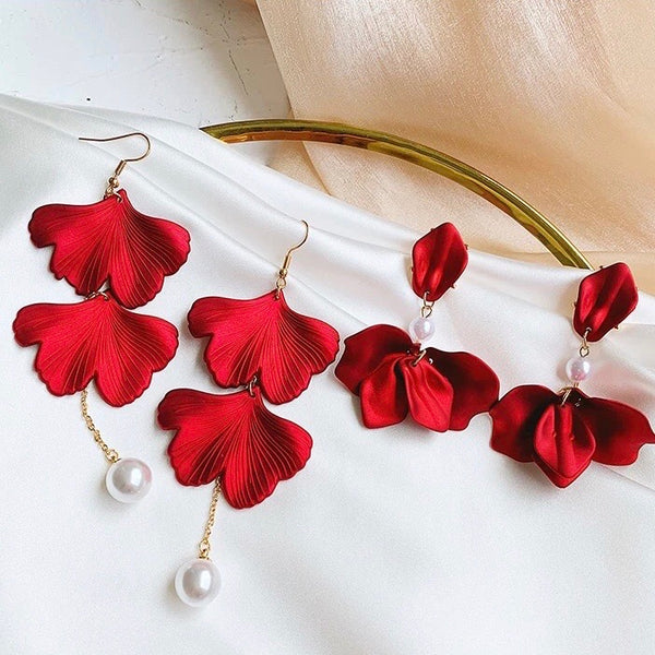 Red Velvet + White Pearl Accent Earrings