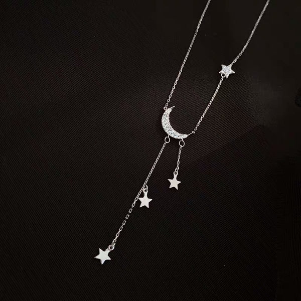 Moonbeam & Star Drop 925 Sterling Silver Necklace - 8 LEFT!