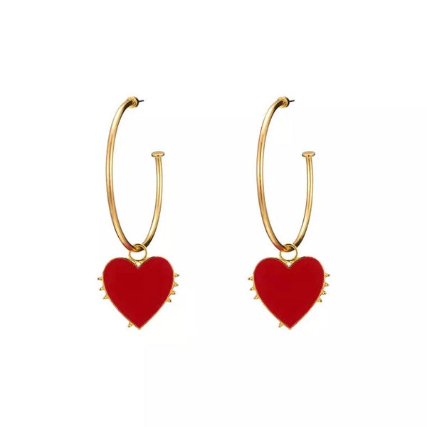 Red Heart Hoop Earrings - 2 Styles!
