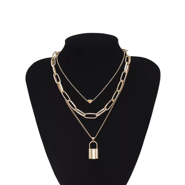❤️ Heart & Lock Layered Chain Necklace - LOW STOCK!!! - The Songbird Collection