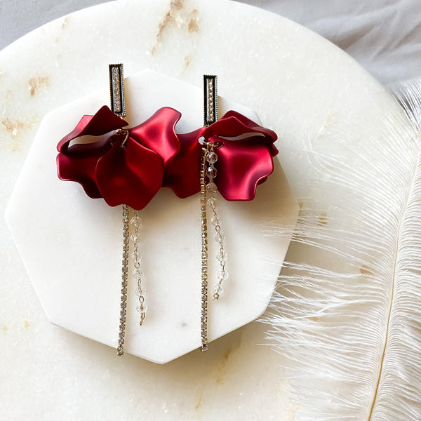 Red Velvet & Rhinestone Drop Earrings - 4️⃣ LEFT! - The Songbird Collection