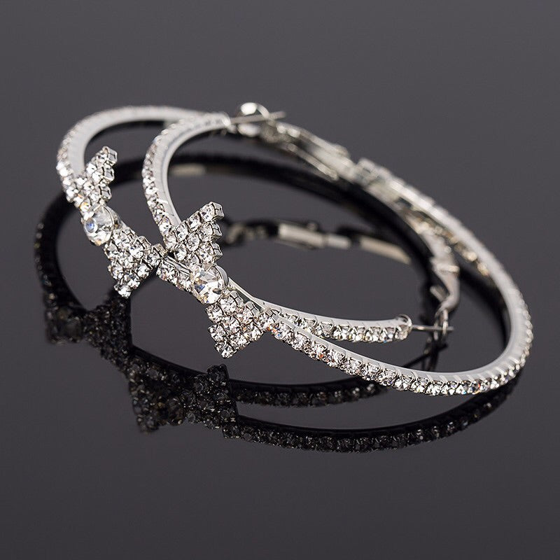 Ribbon Rhinestone Hoop Earrings - The Songbird Collection