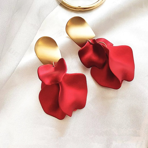 Red Velvet Rose Petal Earrings - RESTOCKED & ON SALE! - The Songbird Collection