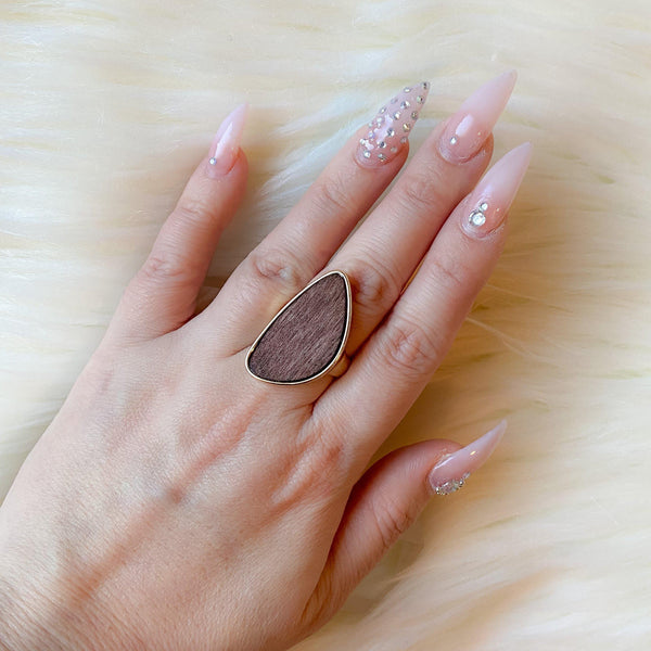 Magnolia Wooden Statement Ring - The Songbird Collection