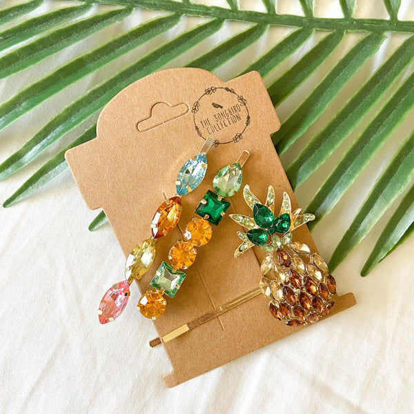 Pineapple 🍍 Glitz Hair Pin Set - 3 LEFT!! - The Songbird Collection