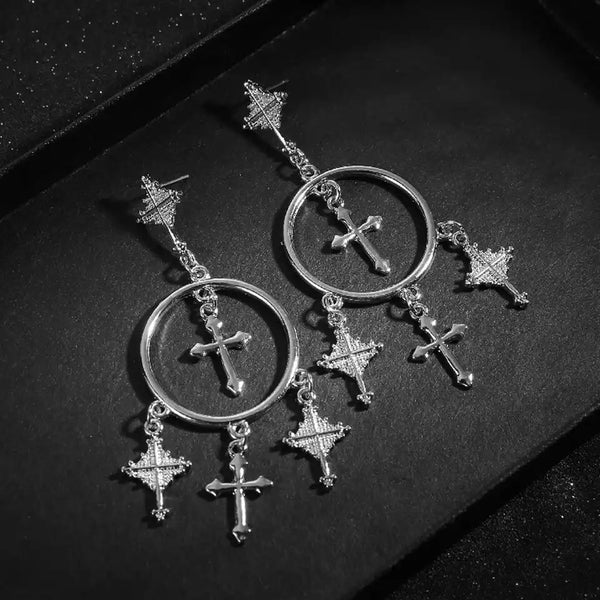 Hoops and Crosses Dangle Earrings - LAST CHANCE! - The Songbird Collection