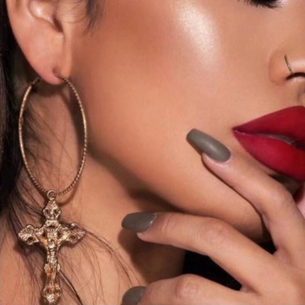 Baroque Cross Hoop Earrings - Yay! RESTOCKED!! - The Songbird Collection