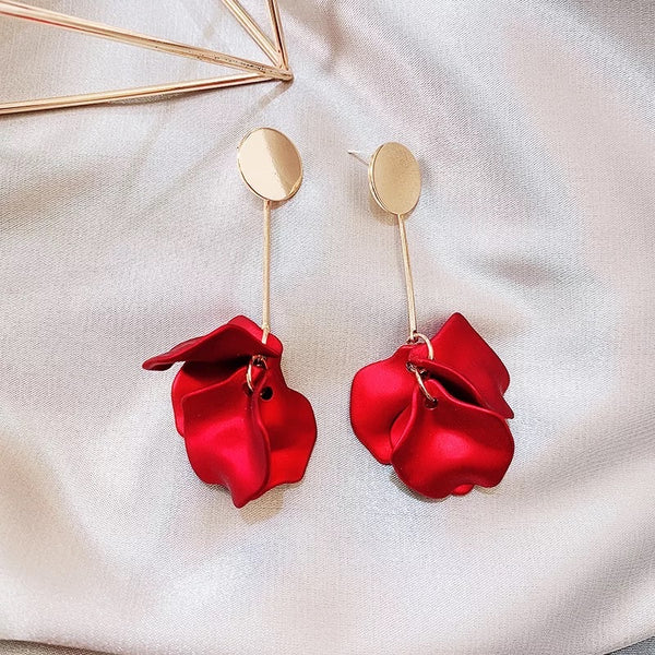 Red Velvet Petal Drop Earrings - RESTOCKED! - The Songbird Collection