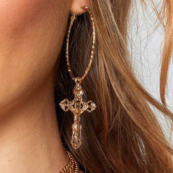 Baroque Cross Hoop Earrings - LOW STOCK! - The Songbird Collection