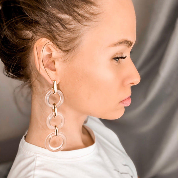 Crystal Clear Chain Earrings - 1️⃣ LEFT! - The Songbird Collection