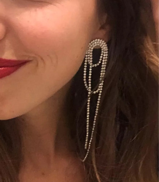 Rinara Rhinestone Chain Tassel Earrings - The Songbird Collection