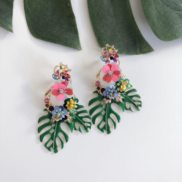 Caribbean Palm Leaf Earrings - The Songbird Collection