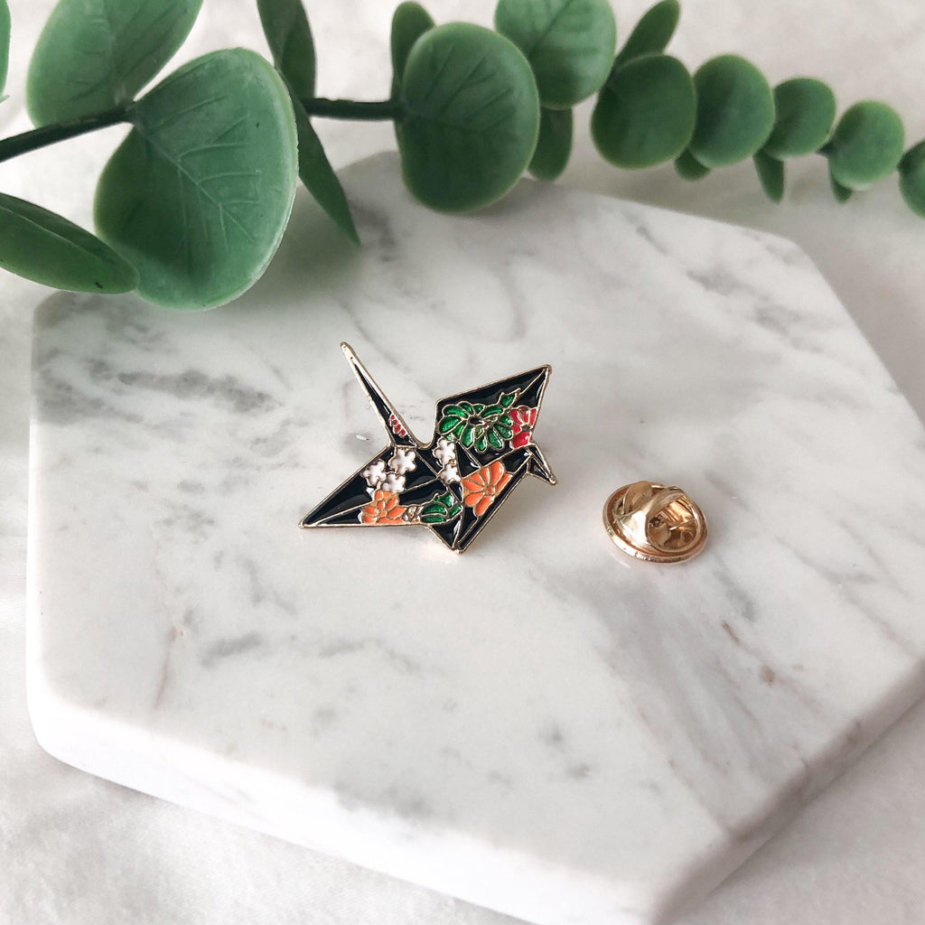 Origami Crane Enamel Pin - RESTOCKED! - The Songbird Collection