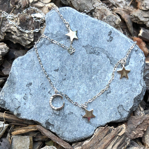 Lune et étoiles Sterling Silver Choker - RESTOCKED! - The Songbird Collection