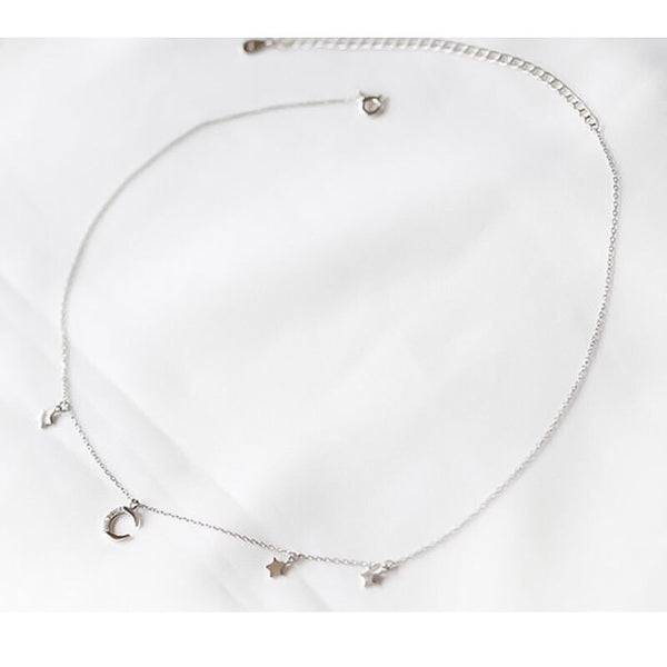 Lune et étoiles Sterling Silver Choker - The Songbird Collection