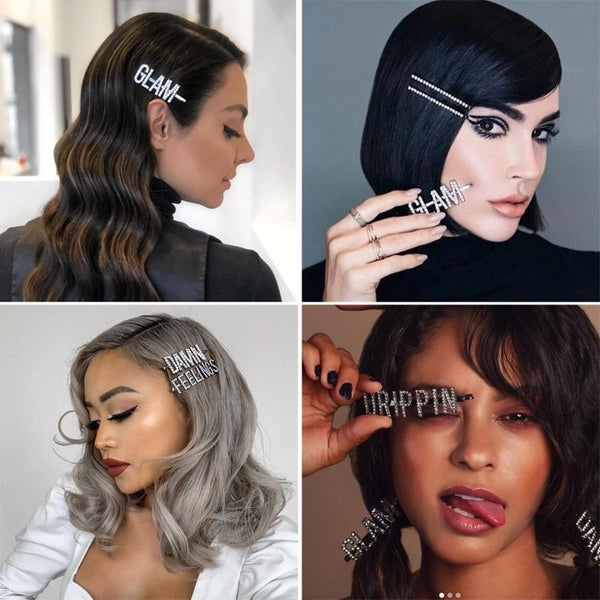 DAMN DRIPPIN GLAM Rhinestone Hair Pins - OVER 2️⃣0️⃣ words available! - The Songbird Collection