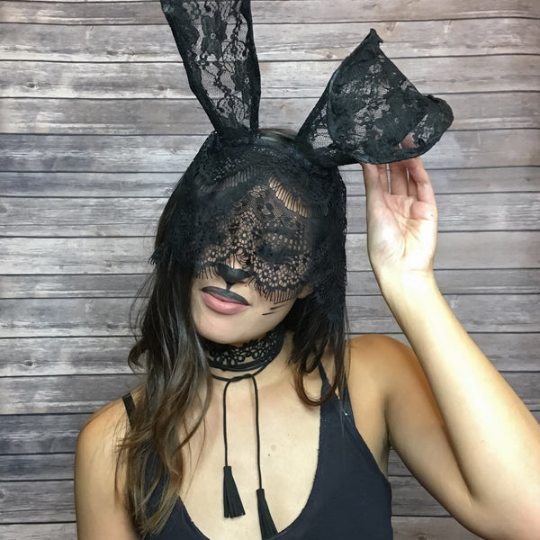 Black Lace Bunny Headband