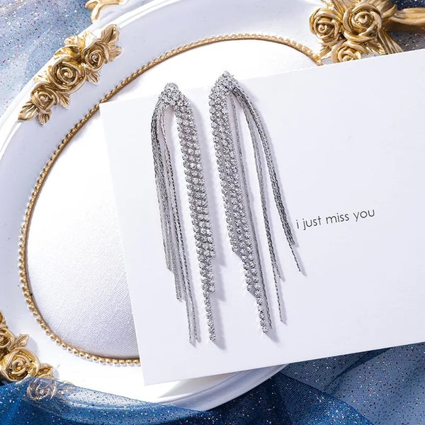 Adara Rhinestone & Chain Tassel Earrings