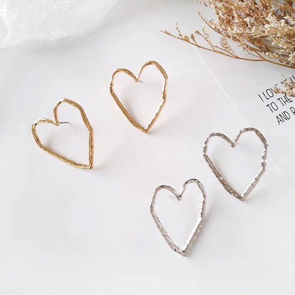 Hammered Heart Earrings - The Songbird Collection