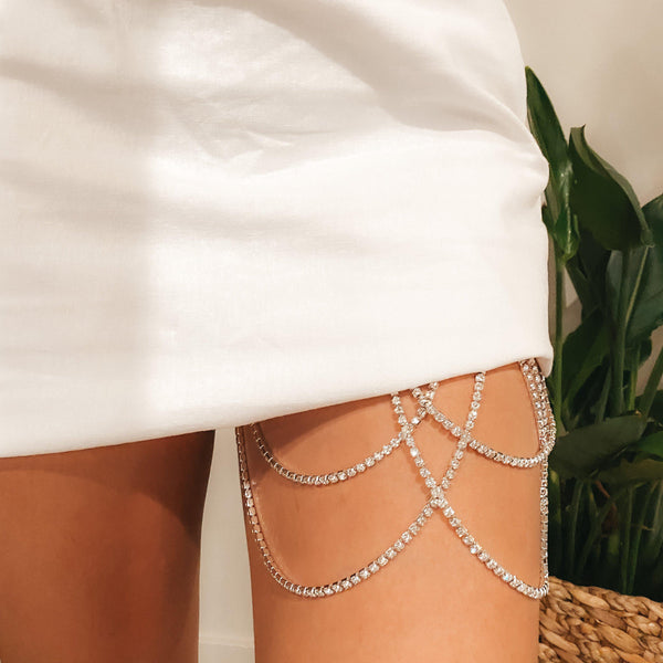 Drippin Glam Rhinestone Leg Chain - LOW STOCK!