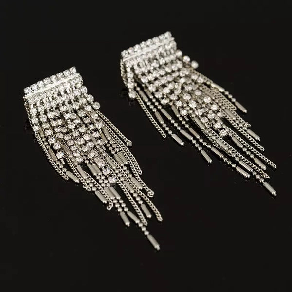 Paris Rhinestone Tassel Earrings - The Songbird Collection