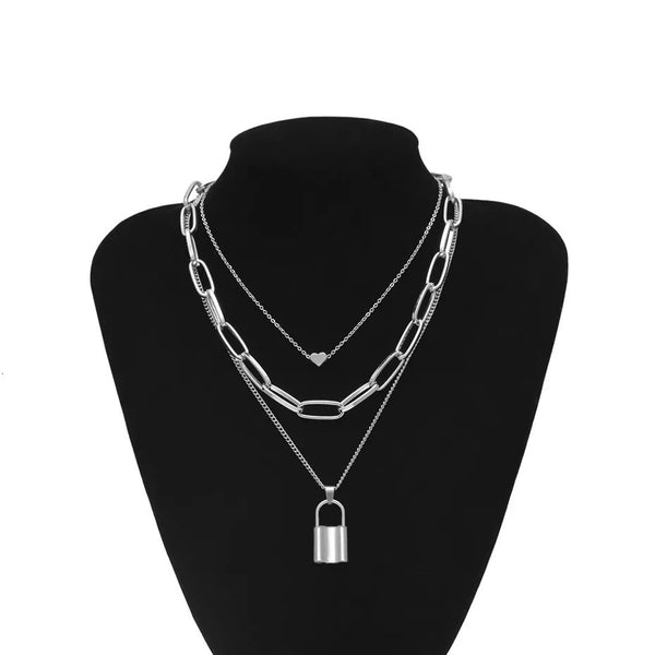 ❤️ Heart & Lock Layered Chain Necklace - LOW STOCK - The Songbird Collection
