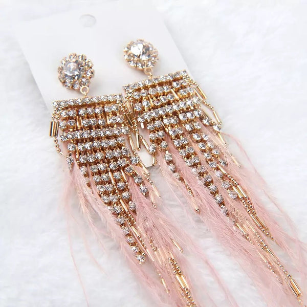 Lavish Feather & Rhinestone Earrings - The Songbird Collection