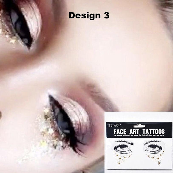Metallic Face Temporary Tattoo Jewels - #1 BEST SELLER! - The Songbird Collection