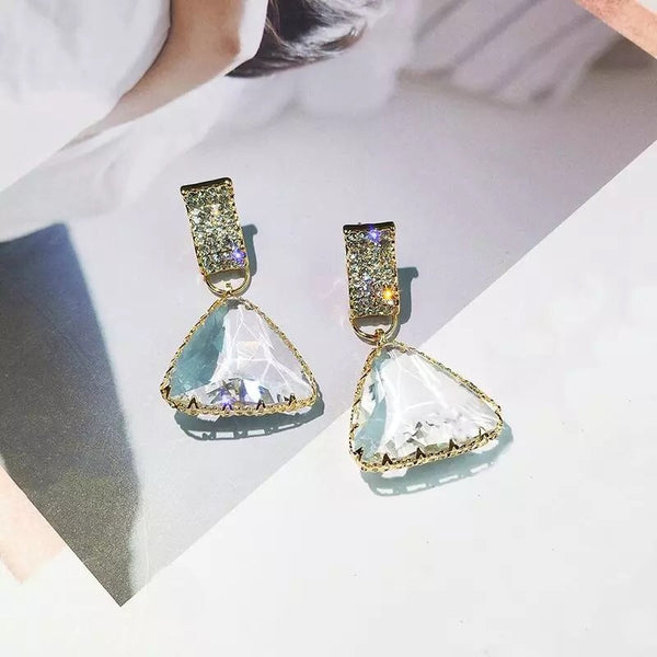Triangle Glass Gem Earrings - 8 Left! - The Songbird Collection