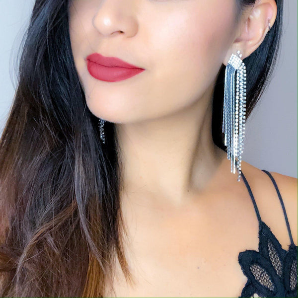 Adara Rhinestone & Chain Tassel Earrings - 4 LEFT! - The Songbird Collection
