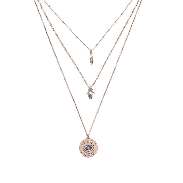 Hamsa & Evil Eye Three Layer Necklace - HURRY! 4️⃣ Left! LAST CHANCE!! - The Songbird Collection