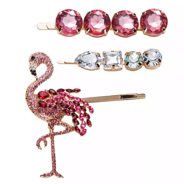 Pink Flamingo 🦩 Glitz Hair Pin Set - The Songbird Collection