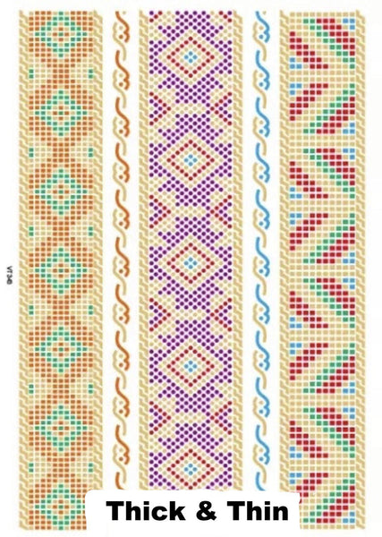 Colored Metallic Temporary Tattoos - 4 Designs of Lines and Stripes - The Songbird Collection