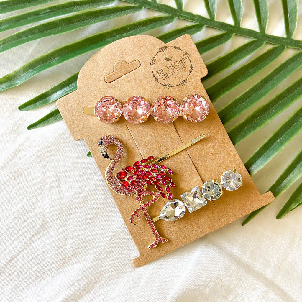 Pink Flamingo Glitz Hair Pin Set - 10 LEFT - The Songbird Collection