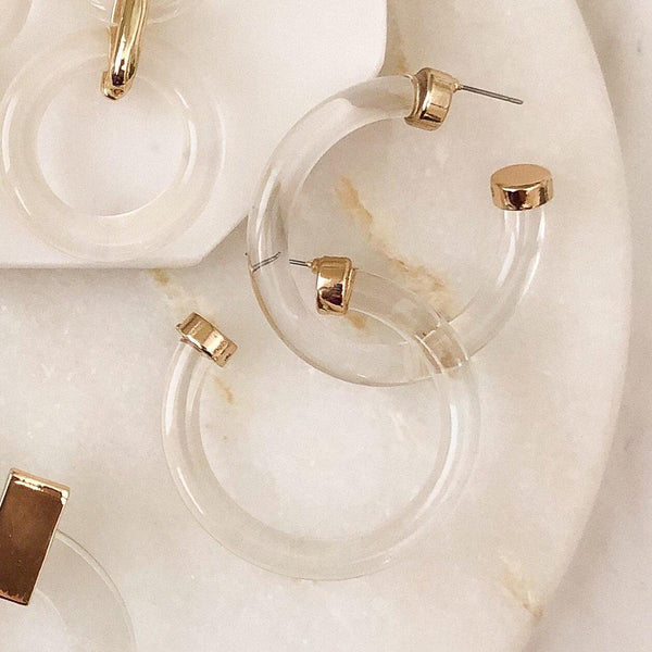 Crystal Clear Hoop Earrings - The Songbird Collection