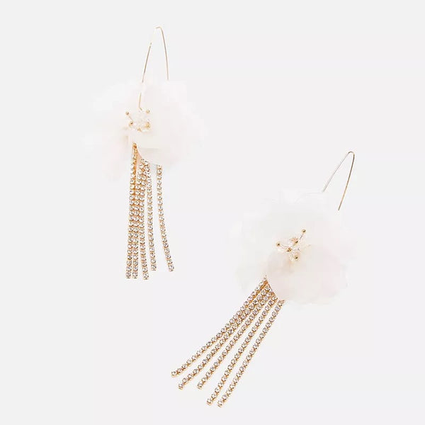 Penelope Flower & Rhinestone Tassel Earrings - Hurry!!! 3️⃣ LEFT! - The Songbird Collection