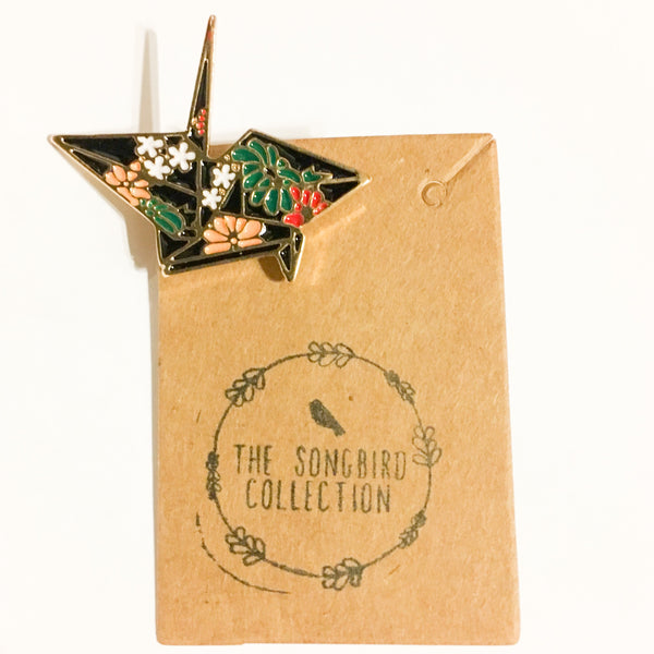 Origami Crane Enamel Pin - The Songbird Collection