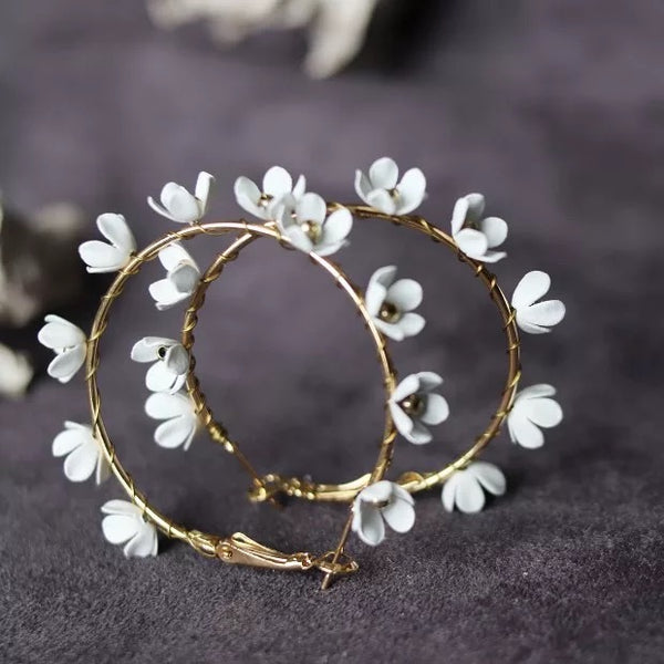 Angelica Flower Hoop Earrings  - 3 COLORS LOW STOCK!! - The Songbird Collection
