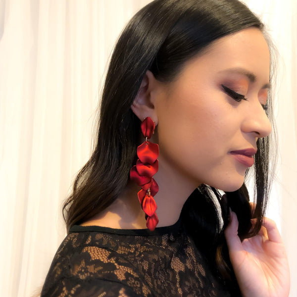Red Velvet Petal Duster Earrings - 2️⃣ LEFT! - The Songbird Collection
