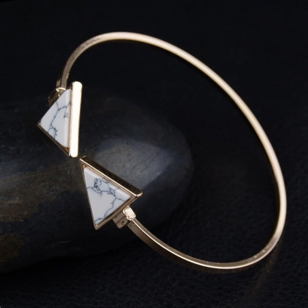 Marble Triangle Bracelet - Gold and Silver - LAST CHANCE! - The Songbird Collection
